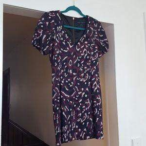 Mini dress purple fushia navy blue print